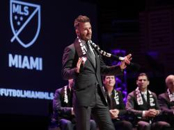 David Beckham speaks at an event announcing that Major League Soccer is bringing an expansion team to Miami.