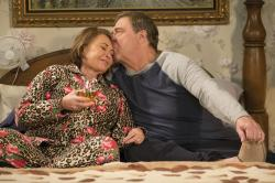 "Roseanne Barr, left with John Goodman in a scene from ""Roseanne."""