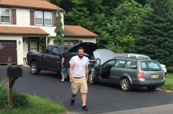 Michael Rotondo, 30, prepares to leave his parents' house in Camillus, N.Y.