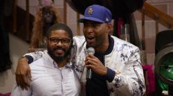"AJ Brown, left, with ""Queer Eye"" star Karamo Brown"