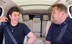 "Shawn Mendes, left, with James Corden on ""Carpool Karaoke."""