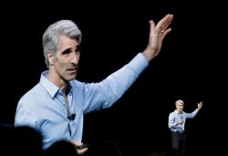 Craig Federighi, Apple's senior vice president of software engineering, speaks during an announcement of new products at the Apple Worldwide Developers Conference on Monday.