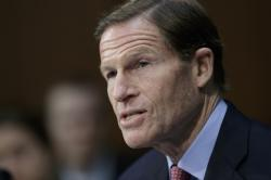 In this April 3, 2017 file photo, Sen. Richard Blumenthal, D-Conn. speaks on Capitol Hill in Washington