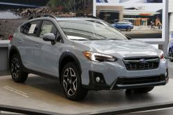This Feb. 15, 2018, file photo shows a 2018 Subaru Crosstrek on display at the Pittsburgh Auto Show