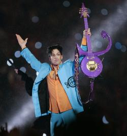 Prince performs during halftime of the Super Bowl XLI halftime show.