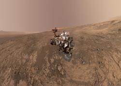 This composite image made from a series of Jan. 23, 2018 photos shows a self-portrait of NASA's Curiosity Mars rover on Vera Rubin Ridge