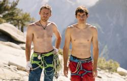 Alex Honnold, right, and Tommy Caldwell pose for a portrait at the top of El Capitan in Yosemite National Park, Calif.
