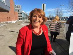 In this March 17, 2018, file photo, Sen. Heidi Heitkamp, D-N.D., arrives for the state Democratic party convention in Grand Forks