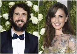 In this combination photo, Josh Groban, left, and Sara Bareilles arrive at the 71st annual Tony Awards in New York