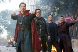 "From left, Benedict Cumberbatch, Robert Downey Jr., Mark Ruffalo and Benedict Wong in a scene from ""Avengers: Infinity War."""