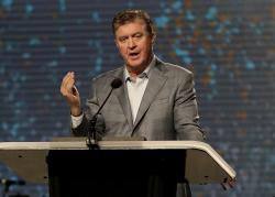In this June 13, 2017 file photo, the Southern Baptist Convention President Steve Gaines gives the president's address during the SBC annual meeting in Phoenix