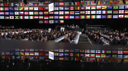 Delegates attend the FIFA congress on the eve of the opener of the 2018 soccer World Cup in Moscow, Russia, Wednesday, June 13, 2018