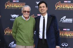 Stan Lee, left, and Keya Morgan