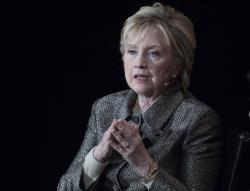 In this April 6, 2017, file photo, former Secretary of State Hillary Clinton speaks in New York
