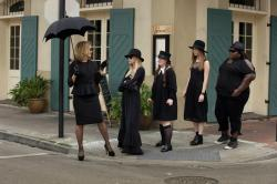 "Jessica Lange with the cast of ""American Horror Story: Coven"""