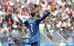 Germany goalkeeper Manuel Neuer gestures during the group F match between Germany and Mexico at the 2018 soccer World Cup in the Luzhniki Stadium in Moscow, Russia.