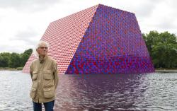 Artist Christo attends the unveiling of his first UK outdoor exhibit, The London Mastaba, on the Serpentine Lake in Hyde Park, central London.