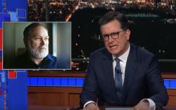 "A photo of Massachusetts gubernatorial candidate Scott Lively appears next to ""Late Show"" host Steven Colbert."
