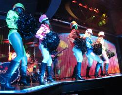 Dancers rehearse with the band at the Royal Jelly night club inside the Ocean Resort Casino in Atlantic City, N.J.