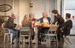 "L-R: Reed Birney, Cassie Beck, Jayne Houdyshell, Lauren Klein, Sarah Steele and Nick Mills in ""The Humans"" at the Ahmanson Theatre presented by Center Theatre Group."