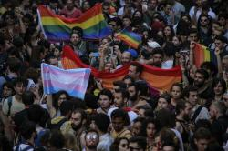 Turkey's lesbian, gay, bisexual, trans and intersex activists march despite a ban, in Istanbul, Sunday, July 1, 2018.