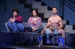 "Eli Gelb, Idina Menzel and William Brittain in a scene from Joshua Harmon's ""Skintight"" (Photo credit: Joan Marcus)"