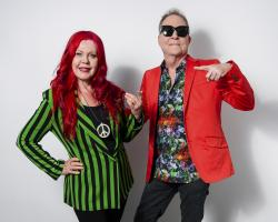 In this June 21, 2018 photo, Kate Pierson, left, and Fred Schneider, of The B-52s, pose for a portrait in New York to promote their 40th anniversary. (Photo by Christopher Smith/Invision/AP)