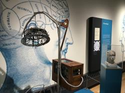 In this June 29, 2018, photo, a 19th-century device used by psychologists is displayed at the National Museum of Psychology in Akron, Ohio