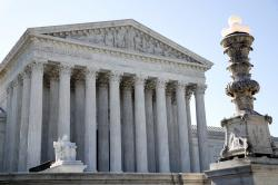The Supreme Court is seen Monday, July 9, 2018, in Washington. President Donald Trump is expected to announce his choice on a replacement for retiring Supreme Court Justice Anthony Kennedy Monday evening