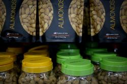 Imported nuts from the United States are displayed for sale at a hypermarket in Beijing.