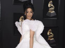 Cardi B arrives at the 60th annual Grammy Awards.