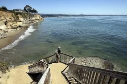 A staircase from Opal Cliffs Park that leads to Opal Cliffs Neighborhood Beach, more commonly known as Privates, in the Live Oak neighborhood of an unincorporated part of Santa Cruz County, Calif.
