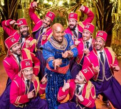 Michael James Scott (Genie) and cast perform 'Friend Like Me' in 'Disney's Aladdin'