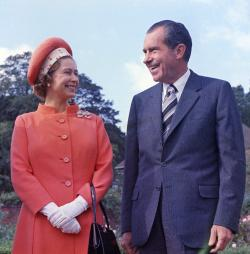 Britain's Queen Elizabeth II, left, reacts with U.S. President Richard Nixon, at Chequers, in Buckinghamshire, England.