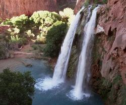 One of five waterfalls on Havasu Creek as its waters tumble 210 feet on the Havasupai Tribe's reservation in a southeastern branch of the Grand Canyon near Supai, Ariz.