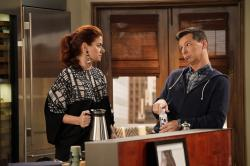 """Debra Messing as Grace Adler, left, and Sean Hayes as Jack McFarland in a scene from """"Will & Grace."""""""