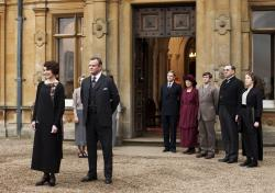 """From left, Elizabeth McGovern as Lady Grantham, Hugh Bonneville as Lord Grantham, Dan Stevens as Matthew Crawley, Penelope Wilton as Isobel Crawley, Allen Leech as Tom Branson, Jim Carter as Mr. Carson, and Phyllis Logan as Mrs. Hughes, from the TV series, """"Downton Abbey."""""""