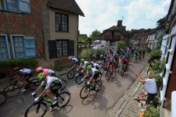 The pack rides in Gerberoy during the eight stage of the Tour de France cycling race over 181 kilometers (112.5 miles) with start in Dreux and finish in Amiens, France.