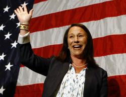 Alabama Rep. Martha Roby waves to supporters during the watch party as she wins the runoff election.