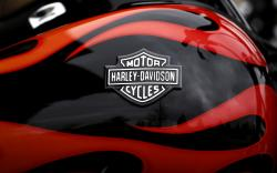This April 27, 2017, file photo shows the Harley-Davidson name on the gas tank of a bike in Glenview, Ill.