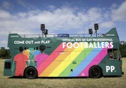 An empty bus highlights the lack of LGBTQ professional footballers.