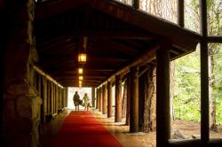 Guests leave the The Majestic Yosemite Hotel? shortly after it closed in Yosemite National Park, Calif.