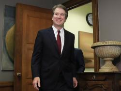 In this July 19, 2018, file photo, Supreme Court nominee Brett Kavanaugh arrives for a meeting with Sen. Sen. Bob Corker, R-Tenn., on Capitol Hill in Washington