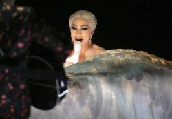 Lady Gaga performs at the 60th annual Grammy Awards at Madison Square Garden in New York.
