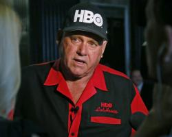 In this June 13, 2016, file photo, Dennis Hof, owner of the Moonlite BunnyRanch, a legal brothel near Carson City, Nevada, is pictured during an interview in Oklahoma City