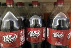 Bottles of Dr. Pepper on a store shelf at Quality Cash Market in Concord, N.H.