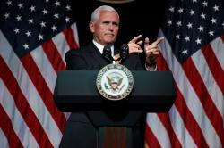 Vice President Mike Pence gestures during an event on the creation of a U. S. Space Force, Thursday, Aug. 9, 2018, at the Pentagon