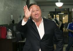 Alex Jones, a right-wing radio host and conspiracy theorist, arrives at the courthouse in Austin, Texas.