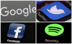 This photo combo of images shows, clockwise, from upper left: a Google sign, and apps for Twitter, Spotify and Facebook