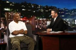 "In this image released by ABC, musician Kanye west, left, and host Jimmy Kimmel appear on the set of ""Jimmy Kimmel Live!"" in Los Angeles."